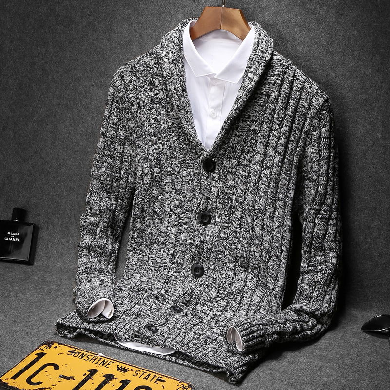 M-5XL Korean Thick Sweater Men's Knitted Sweater Autumn Cardigan Sweater Men's Slim Buttons Large Size Men's Sweater Coat