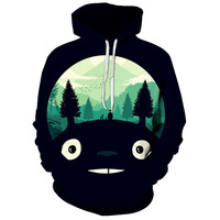 AliExpress New Hot Selling Black And White with Pattern Funny Totoro 3D Printed Pullover Hoodie