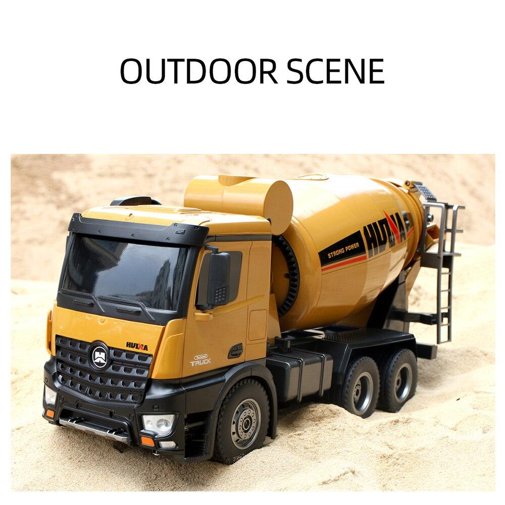 HUINA 1574 1:14 Liga Caminhão do Misturador Concreto Caminhão Engenharia de Controle Remoto Luz Veículo de Construção de Brinquedos para Crianças Presente - 6