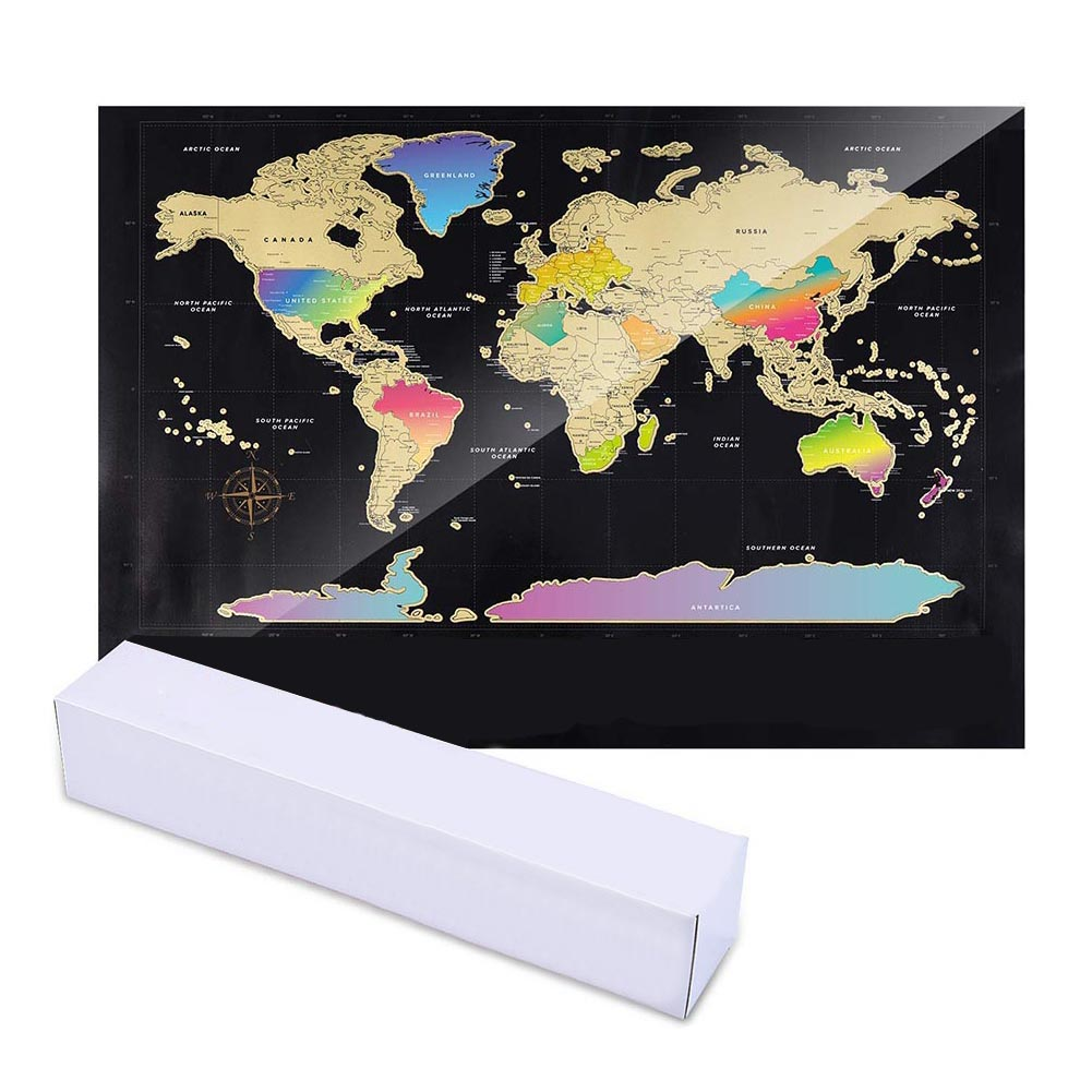 World Map Scratch Off Travel Scratch For Map Room Home Decor Wall Stickers Gifts GK99