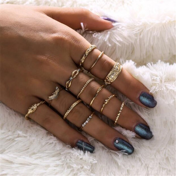 15 Pcs/set Women Fashion Rings Hearts Fatima Hands Virgin Mary Cross Leaf Hollow Geometric Crystal Ring Set Wedding Jewelry 27
