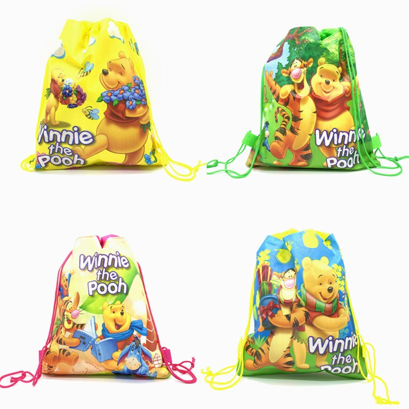 New Winnie Pooh Disney Bear Non-woven Fabric Drawstring Backpack Gift Bag Storage Bag Kids Boys Favor School Bags Party Supplies