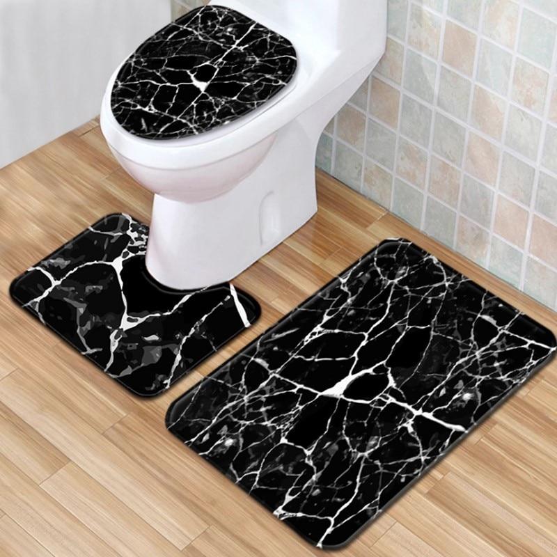 3 pieces/Set Marble Pattern Bath Mat Contour Pedestal Rug Lid Toilet Cover Carpet Bathroom Set