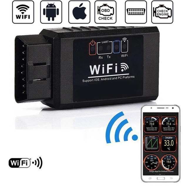 V1.5 ELM327 Car WIFI OBD 2 OBD2 OBDII Scan Tool Foseal Scanner Adapter Check Engine Light Diagnostic Tool for iOS Android
