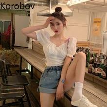 Elegant Shirt White Blouse Korobov Summer Short-Sleeve Collar-Puff Blusas Open-Collarbone