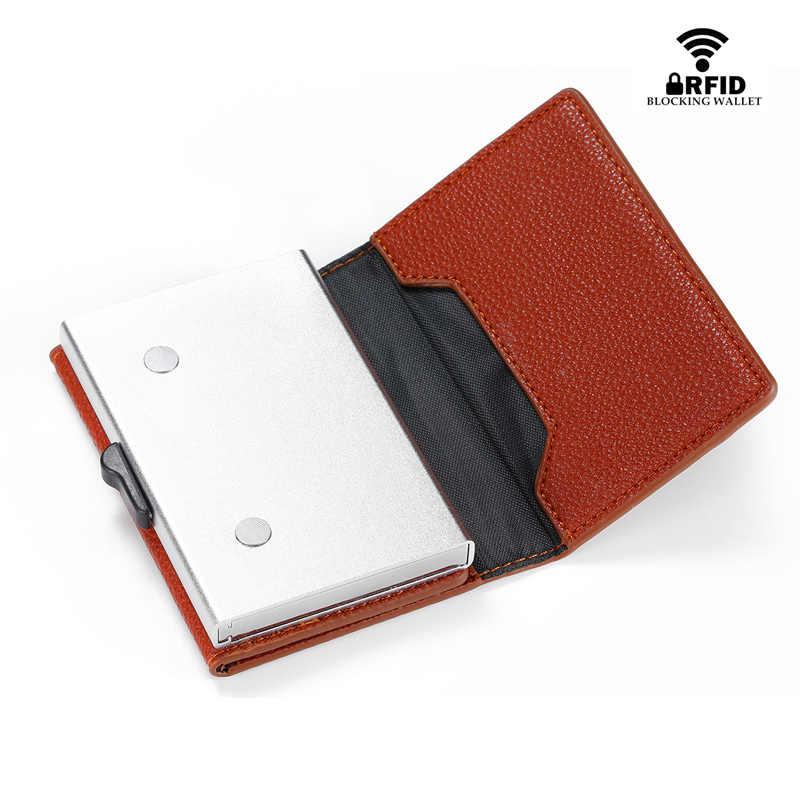 BISI GORO Anti-diefstal Rfid Id Kaarthouder Case Enkele Doos Aluminium Portemonnee Vrouwen Magnetische Mini Credit Card houder Met Rits