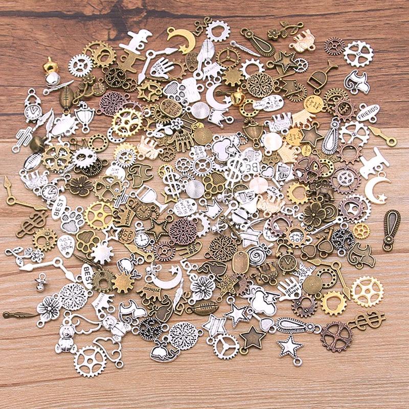 40 шт. смешанных цветов мини размер случайный Сплав животных растение Сердце Звезда очаровательные механические стимпанк когти и шестерни ...
