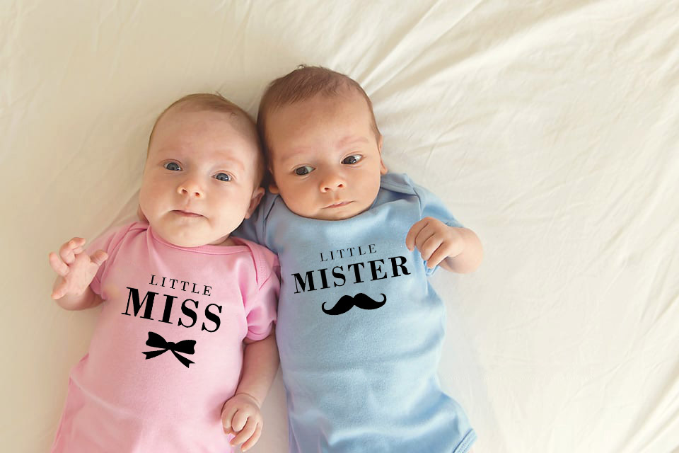 1 Pc Little Miss And Little Mister Baby Girls Boys Summer Short Sleeves Jumpsuit Twins Baby Bodysuits Unisex  Onesie Cotton Wear