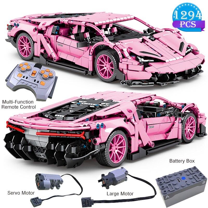 Novo famoso carro de corrida série blocos de construção de controle remoto rosa modelo de carro brinquedos das crianças para presentes aniversário do namorado