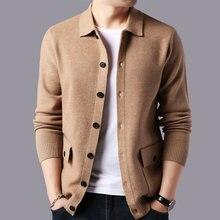 Мужской кашемировый кардиган теплый шерстяной свитер пальто