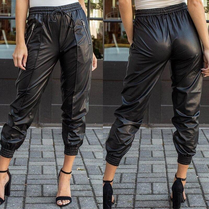 2019 Women Streetwear Solid Color Black Leather Pants Skinny Women Cargo Pants  Women Plus Size Bodycon Pants Women
