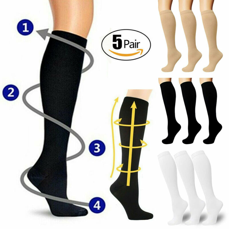 Brand New Solid Unisex Compression Socks Support Graduated Long Socks Men's Women's 1Pairs (S-XL)