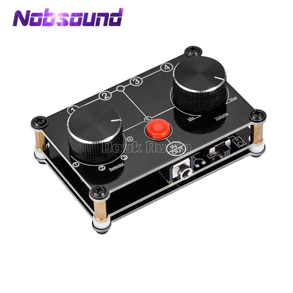 Little Bear Mini 4 Port Stereo Manual Selector Audio Sharing 3.5mm AUX Speaker Headphone Switcher