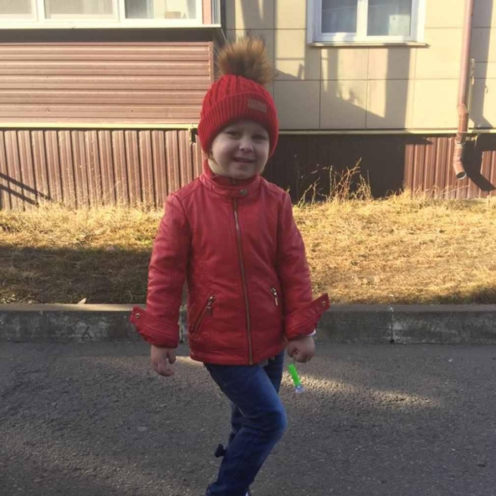 חם יילוד תינוק בני בנות חורף חם צמר פרווה כובע כובע תינוק סרוג במסרגה כפת כובע Pompom כדור פעוט תינוק ילדים כובע