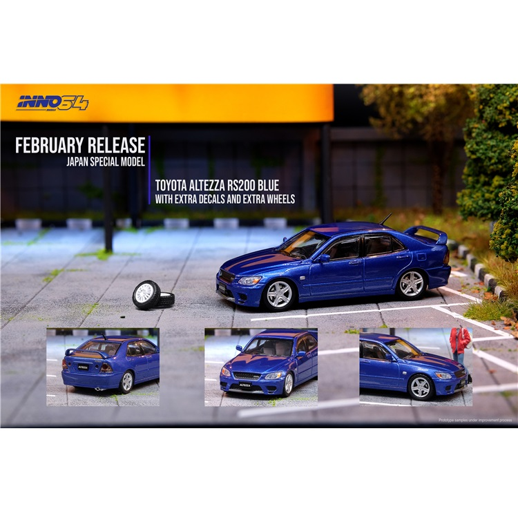 INNO64 1:64 Toyota Altezza RS200 With Extra Wheels Blue With Sperate Decals And Exrea Wheels Die-cast Model Car