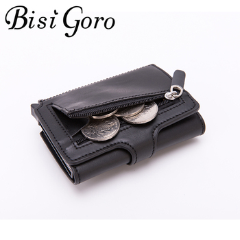 BISI GORO 2020 Fashion New Wallet RFID Prevent PU Leather Vintage Card Holder  Men and Women Carbon Fiber Wallets Case