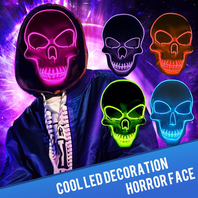 Halloween Skeleton Mask LED Glow Scary EL-Wire Mask Light Up  Festival Cosplay Costume Supplies Party Mask mardi gras 1