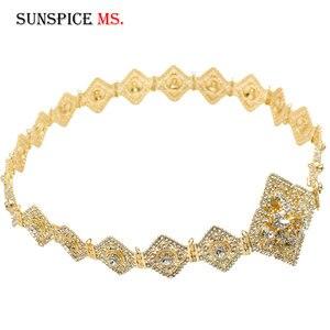 Image 2 - Sunspicems Luxus Marokkanischen Kaftan Gürtel für Frauen Volle Strass Taille Kette Metall Einstellbare Länge DUBAI Hochzeit Schmuck 2020