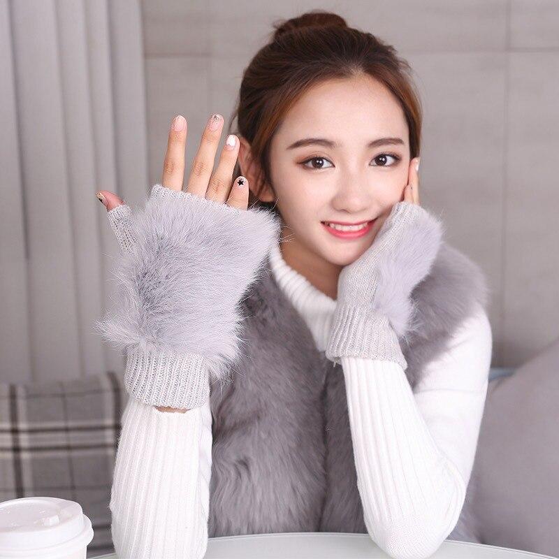 Women Rabbit. Fur Mitten Plush Glove Costume Cute Winter Warm Half Finger Gloves Women Female Gloves Mitten Keep Warm