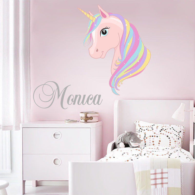 Customized Children's Name Modern Wall Sticker Pony Applique Cute Cartoon Wall Decals Boys And Girls Nursery Room Decoration(China)