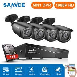 SANNCE 1080P CCTV System 4CH Video Surveillance Kit for Home 1080P HDMI DVR 4PCS 1280TVL 1080P Outdoor Security Camera 1TB
