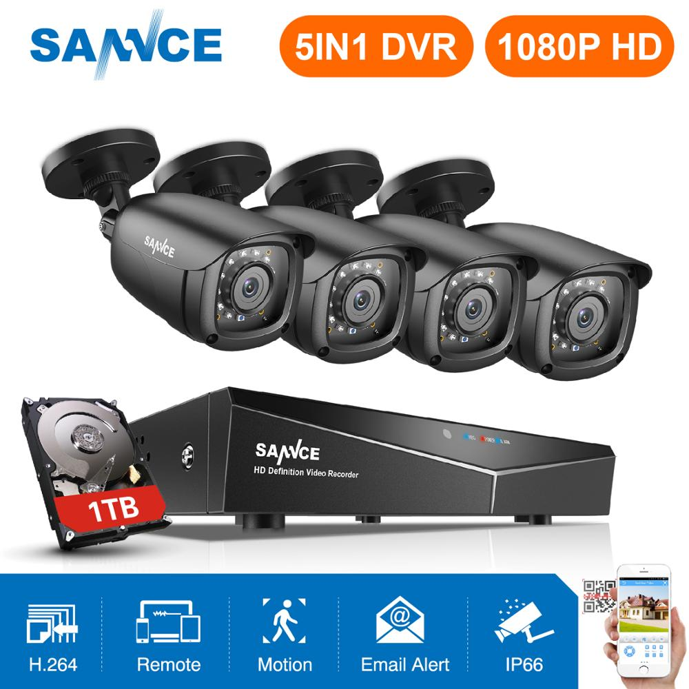 SANNCE 1080P CCTV System 4CH Video Surveillance Kit For Home 1080P HDMI DVR 4PCS 1280TVL 1080P Outdoor Security Camera 1TB
