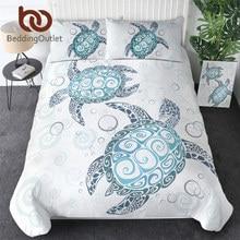 طقم سرير للسلحفاة والسلحفاة غطاء لحاف البحرية الحيوان المنسوجات المنزلية 3 قطعة مفارش الكرتون الأزرق الأبيض هبوط السفينة