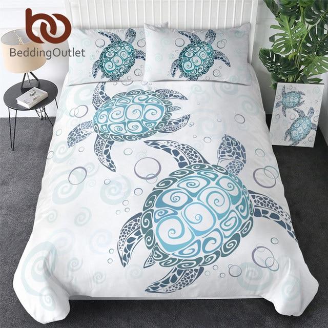 BeddingOutlet Turtles Bedding Set Tortoise Duvet Cover Marine Animal Home Textiles 3pcs Cartoon Blue White Bedclothes Drop Ship