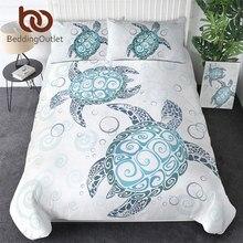BeddingOutlet ropa de cama con dibujos de tortugas, edredón con funda de tortuga, animales marinos, Textiles para el hogar, 3 uds., ropa de cama azul y blanca