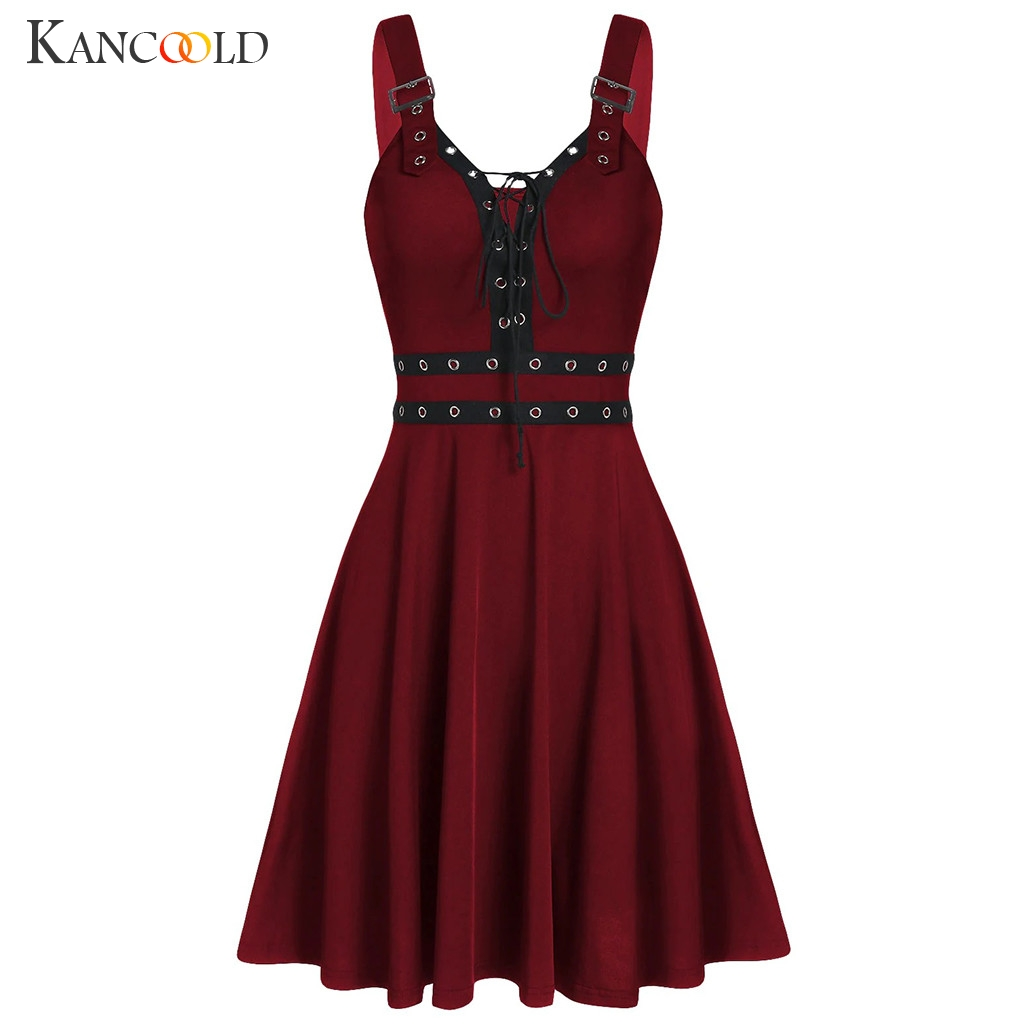 KANCOOLD Women's Gothic Punk Sleeveless Strap Sling Dress Elegant Strap Backless Sexy Party Strapless Strapless Dress