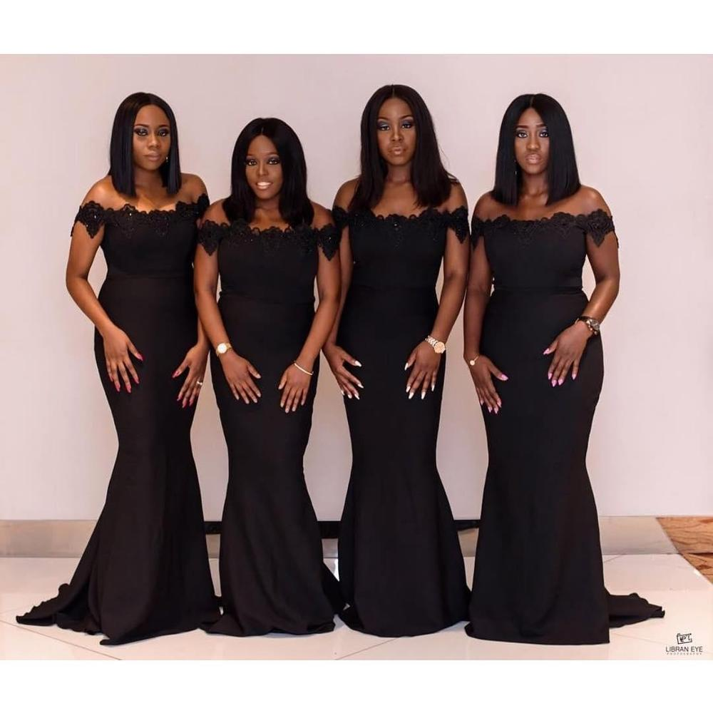 African Black 2020 Mermaid Long Bridesmaid Dresses Off Shoulder Lace Applique Sequined Beads Maid Of Honor Dress Vestidos