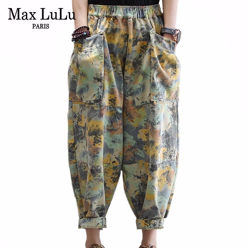 Max LuLu 2020 Fashion Spring Ladies Loose Floral Jeans Womens Casual Printed Denim Trousers Female Vintage Harem Pants Plus Size