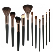 цена на 11pcs Makeup Brushes Goat Hair Natural Make up Brush sets Black Blending Foundation Contour Professional Makeup brush set