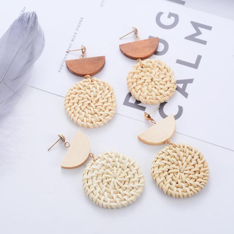 2 Colors Exaggerated Geometric Shaped Rattan Woven Earrings Fashionable Bohemia Wooden Unique Earrings Women Ear Gifts Jewelry