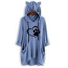 New T-Shirt For Women Cat Paw Letters Print Mid Sleeve Hooded Tshirt Top Streetwear Off The Shoulder