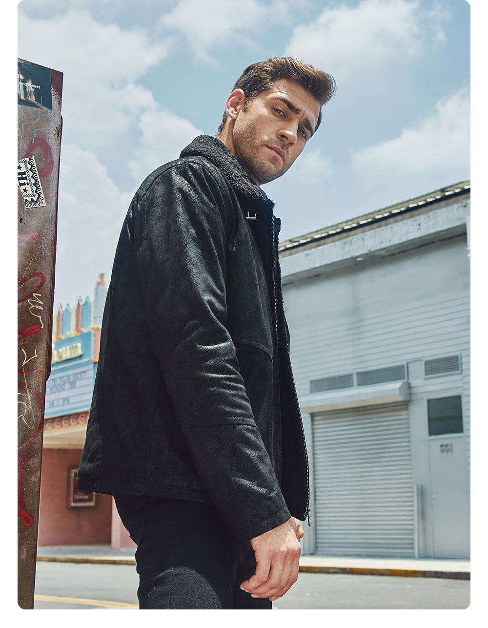 Hc2ce52d8670c4c64b8c46eeec76fb4d7W FLAVOR New Men's Genuine Leather Motorcycle Jacket Pigskin with Faux Shearling Real Leather Jacket Bomber Coat Men