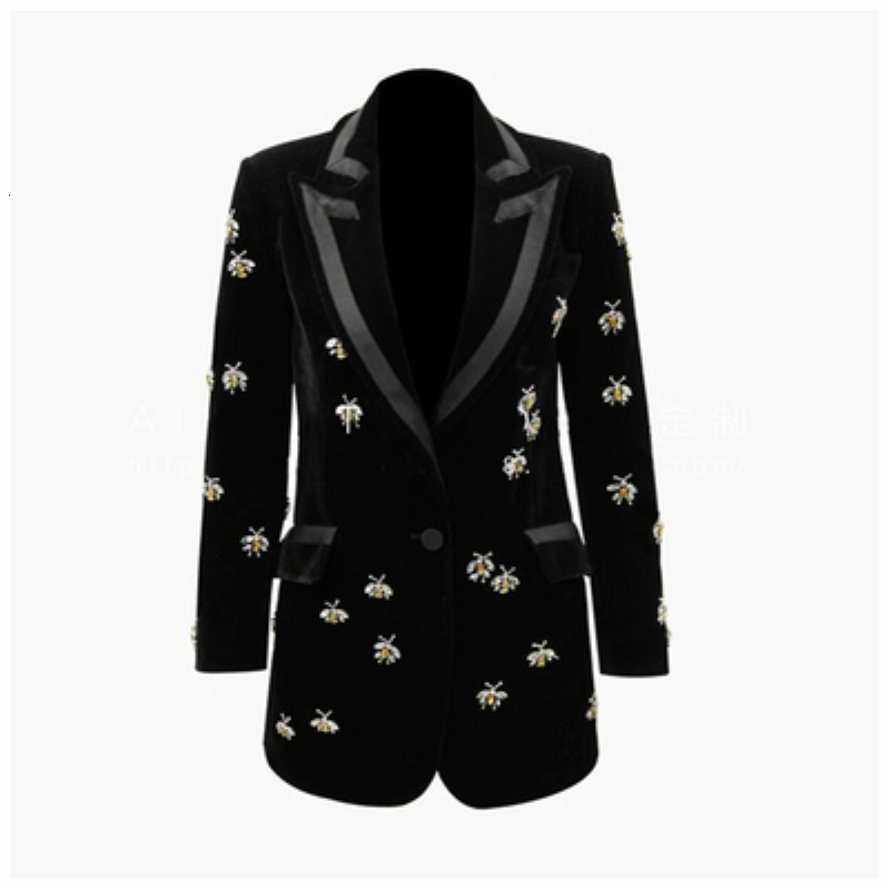 Female Suit 2019 Spring New Heavy Temperament Velvet Crystal Small Bee Waist Loose Blazer