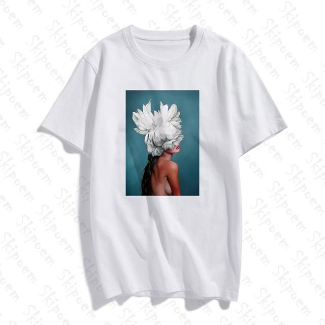 New Cotton Aesthetics Flowers Feather Print Short Tops 1