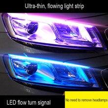 1 pieza Ultra-fina del coche luz LED de conducción diurna de tubo suave de tira de LED de luz agua Luz de guía de luz del coche tiras de luz de tira