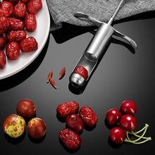 304 Stainless Steel Jujube Pitter Spring Push Style Cherry Olive Stoner Syringe Shape Manual Corer Seed Remover