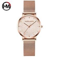 Relógio feminino luxo japonês quartzo, relógio de pulso aço inoxidável ponteiro branco à prova dágua
