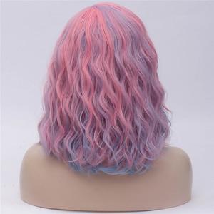 Image 2 - MSIWIGS Brevi Cosplay Parrucche per le Donne di Colore del Rainbow Parrucche Ondulate Lato Centrale Linea Sottile Cos Sintetico Rosa Netto Dei Capelli Ombre