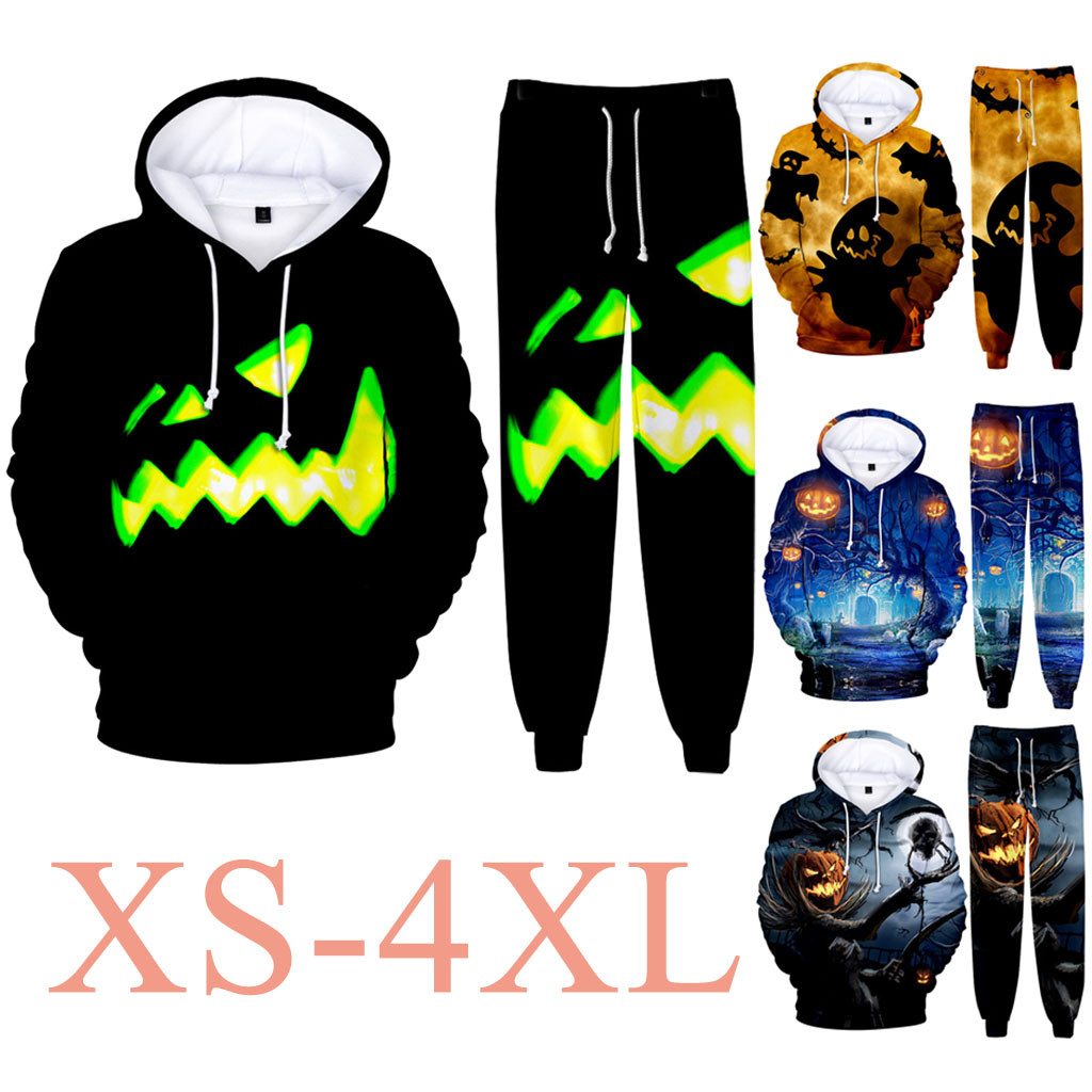 Couple Halloween 3D Print Hoodie Casual Scary Full Party Sports Suit Cosplay Party Lightning Hoodies Halloween Sweatshirt