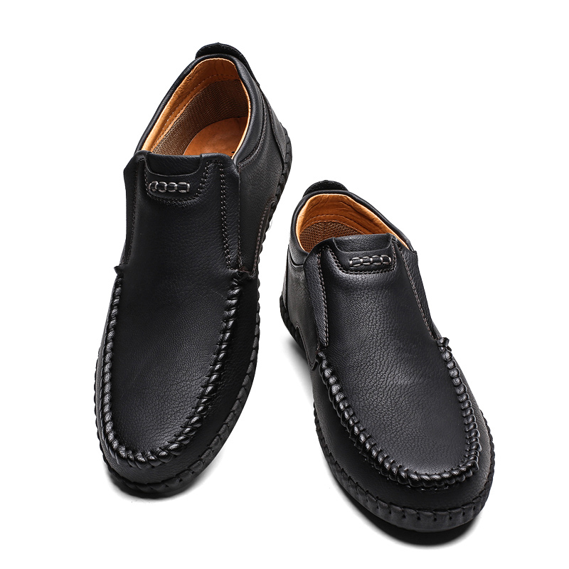 casual leather winter shoes black