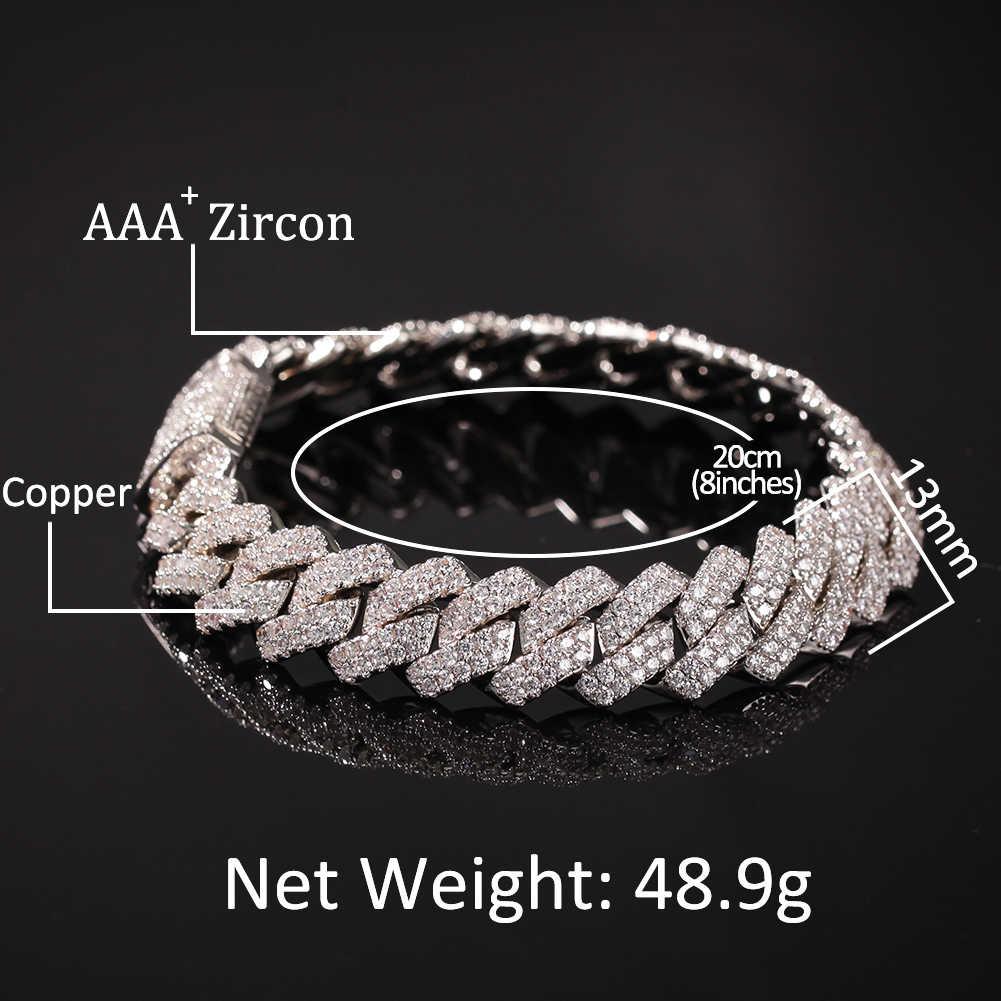 Le roi BLING 13mm 2Row chaîne et Bracelet en zircon cubique pavé couleur or argent Hip Hop Micro cuivre brillant