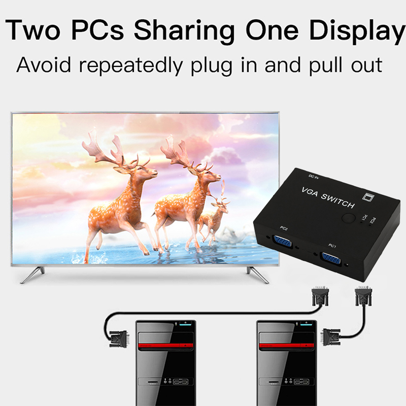 2-Port VGA Monitor Sharing Switch Box Video Selector 2 In 1 Out For HDTV PC Office PUO88