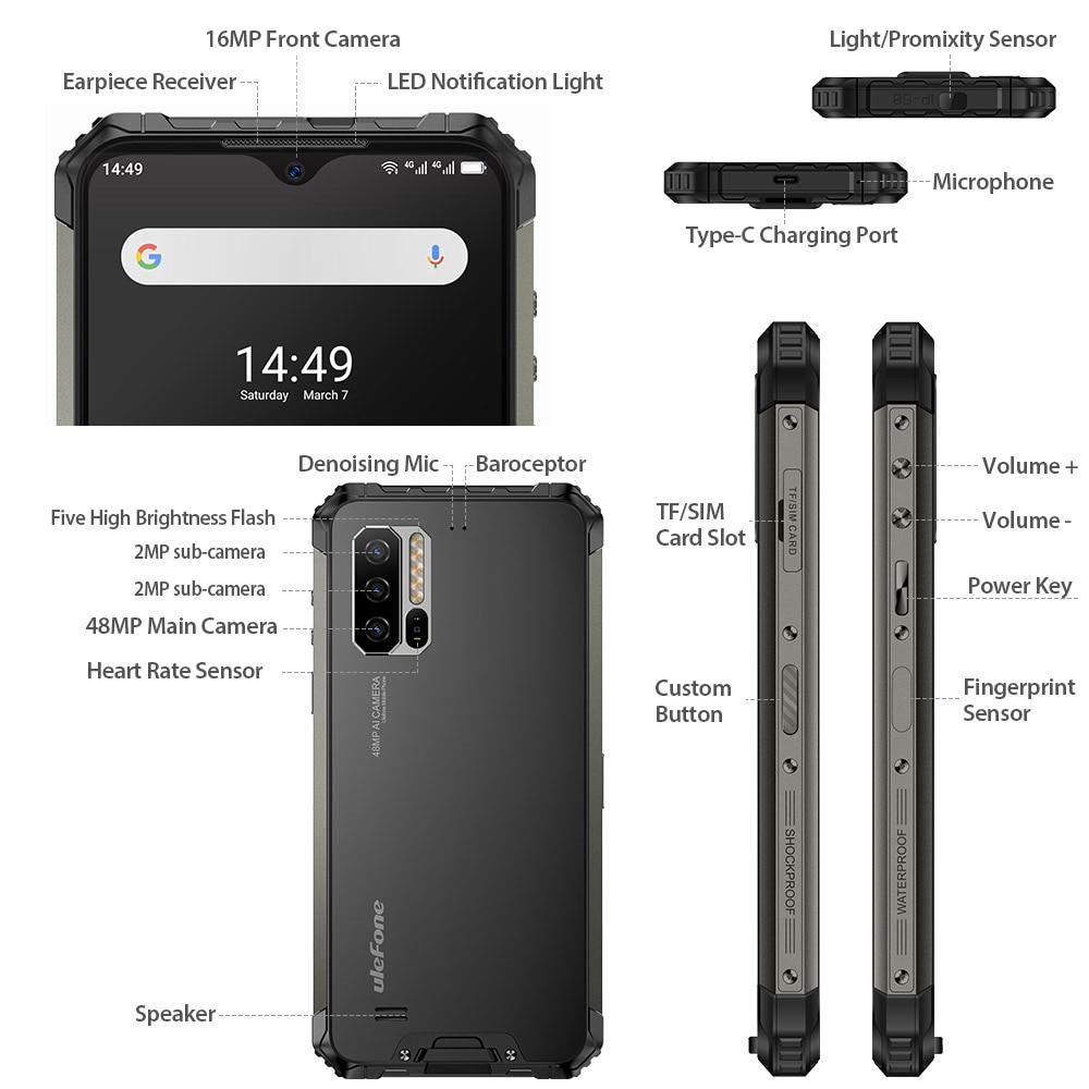 Ulefone Armor 7E Waterproof Rugged Smartphone Android 9.0 4GB+128GB NFC Helio P90 IP68 5G WIFI 5500mAh Cell Phone Mobile Phone