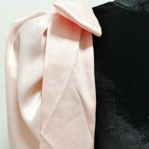 Image 5 - Jillperi女性の冬の長袖蝶ネクタイベルベットパーティードレスファッションパフスリーブパッチワークストレッチセクシーなショート衣装ミニドレス