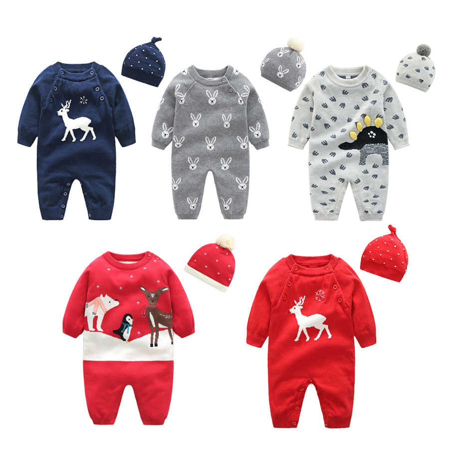 2PCS Newborn Baby Boys Girls jumpsuits hat baby kids Christmas clothes Set