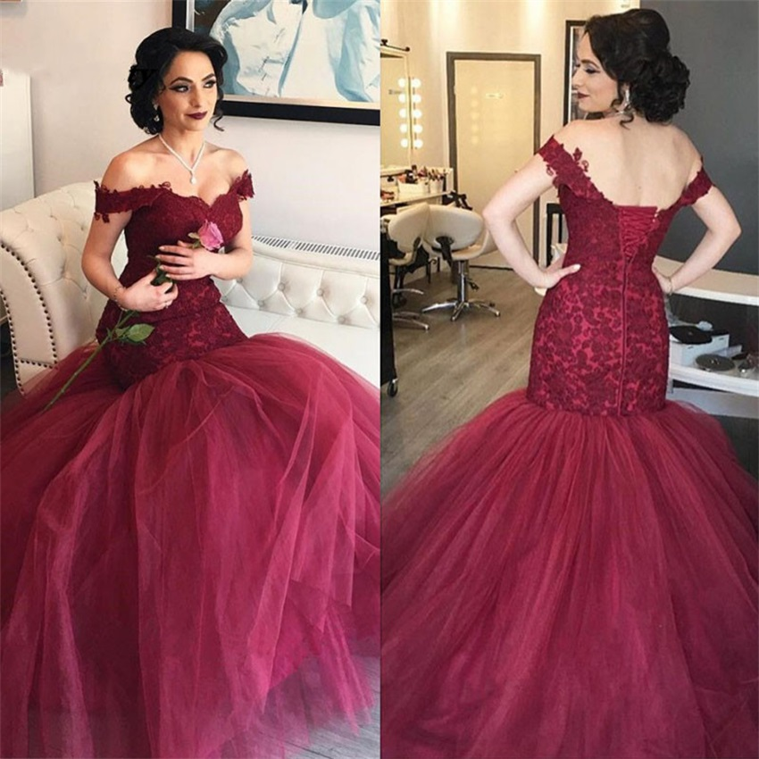 Off The Shoulder Mermaid Evening Dresses Appliques Lace Tulle Burgundy Formal Gowns Elegant Prom Party Dresses Sweep Train
